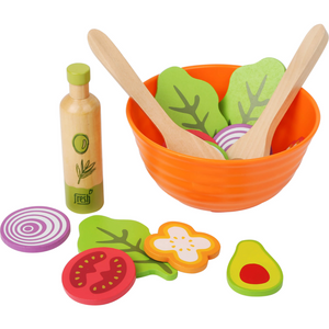 Small Foot Salad Play Set | Gorgeous Pretend Play Toys | Front View,  Spoon & Fork in Bowl | BeoVERDE.ie
