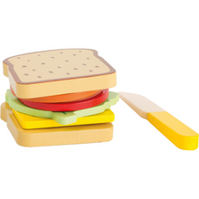 Load image into Gallery viewer, Small Foot Sandwich Set | Wooden Pretend Play Toys | Front View Finished Sandwich | BeoVERDE.ie