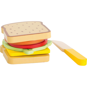 Small Foot Sandwich Set | Wooden Pretend Play Toys | Front View Finished Sandwich | BeoVERDE.ie