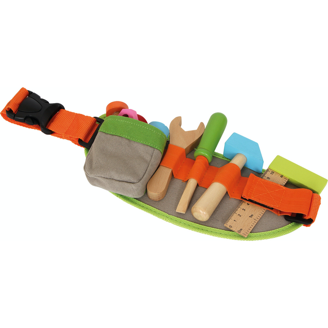 Small Foot Tool Belt | Wooden Pretend Play Toys | Front View | BeoVERDE.ie
