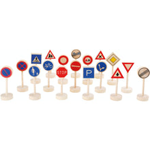 Load image into Gallery viewer, Small Foot Wooden Toy Traffic Signs 18 Pieces | Wooden Imaginative Play Toys | Front View | BeoVERDE.ie