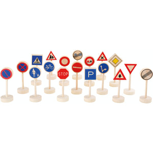 Small Foot Wooden Toy Traffic Signs 18 Pieces | Wooden Imaginative Play Toys | Front View | BeoVERDE.ie
