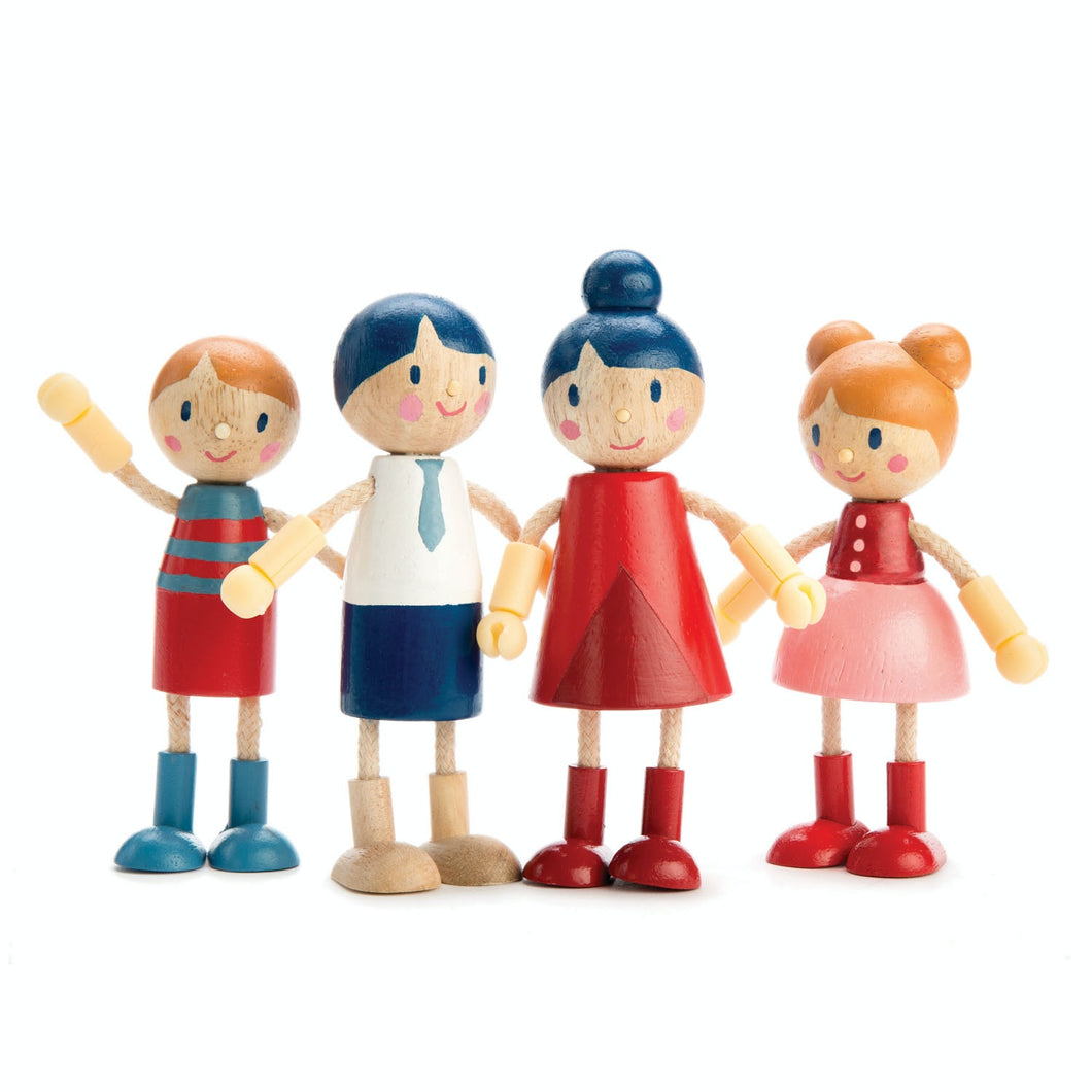 Tender Leaf Toys Wooden Doll Family with Flexible Arms & Legs | Inspires Imaginative Play | Front View All Wooden Dolls | BeoVERDE.ie