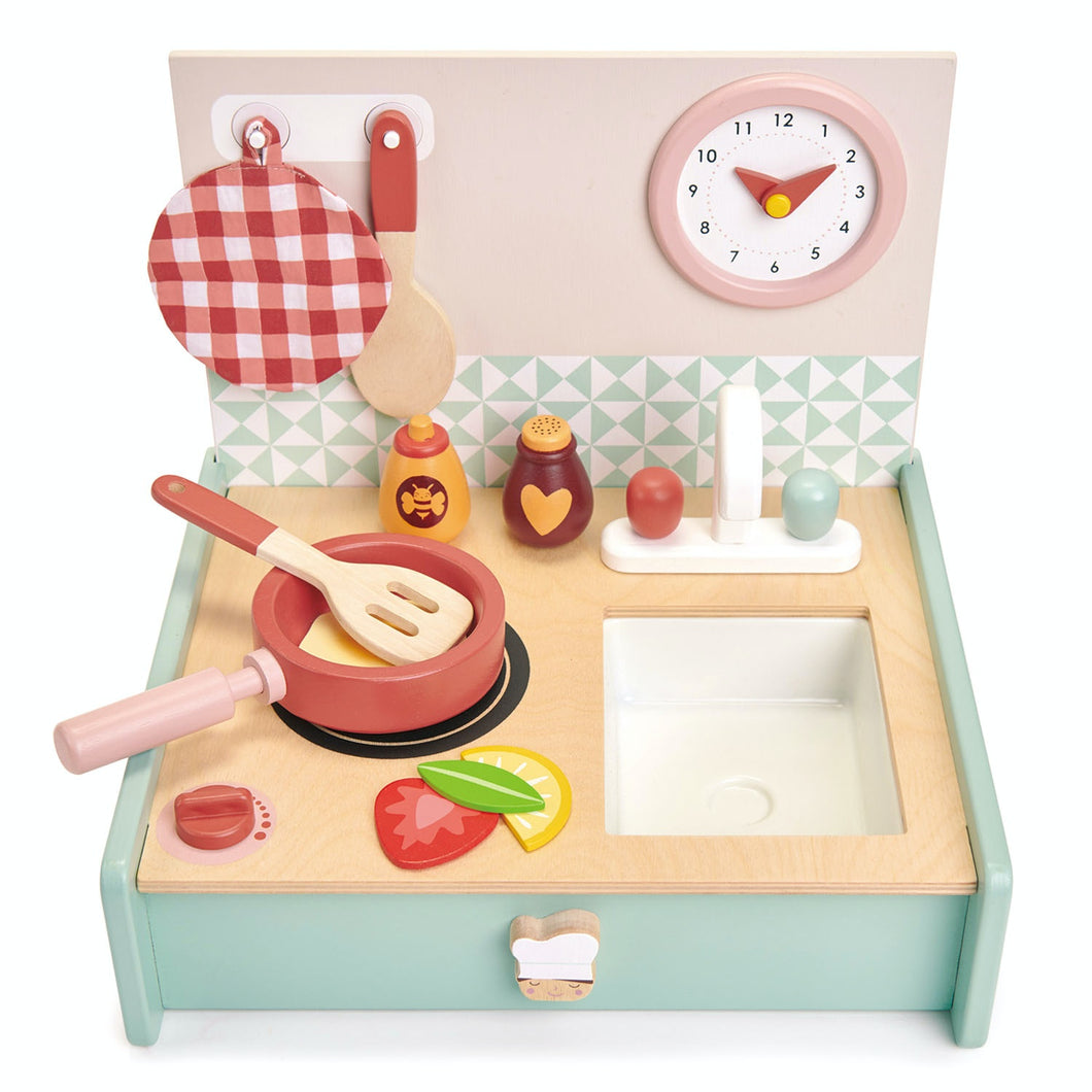 Tender Leaf Toys Kitchenette | Wooden Role Play Toy Kitchenette for Kids | Inspires Pretend Play | Front View - Open | BeoVERDE.ie