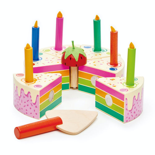 Tender Leaf Toys Rainbow Birthday Cake | Wooden Play Food & Kitchen Toys | Front - Side View | BeoVERDE.ie