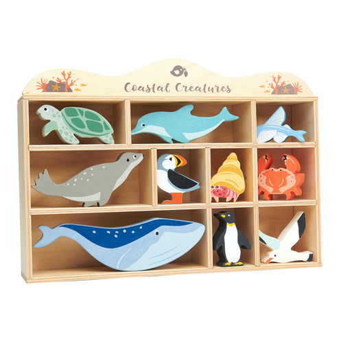 Tender Leaf 10 Coastal Animals & Shelf Set | Hand-Crafted Wooden Animal Toys | BeoVERDE.ie