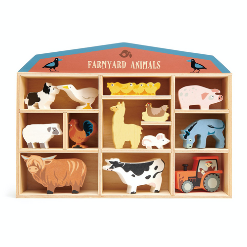 Tender Leaf 13 Farmyard Animals & Shelf Set | Hand-Crafted Wooden Animal Toys | BeoVERDE.ie