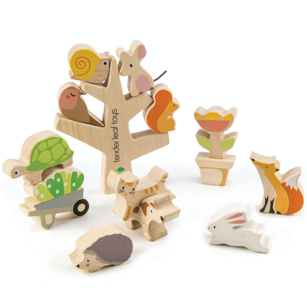 Tender Leaf Stacking Garden Friends Set | Hand-Crafted Wooden Animal Toys | BeoVERDE.ie