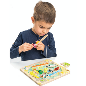 Tender Leaf Wooden Pond Dipping | Hand-Crafted Wooden Educational Toy | Boy Playing | BeoVERDE.ie