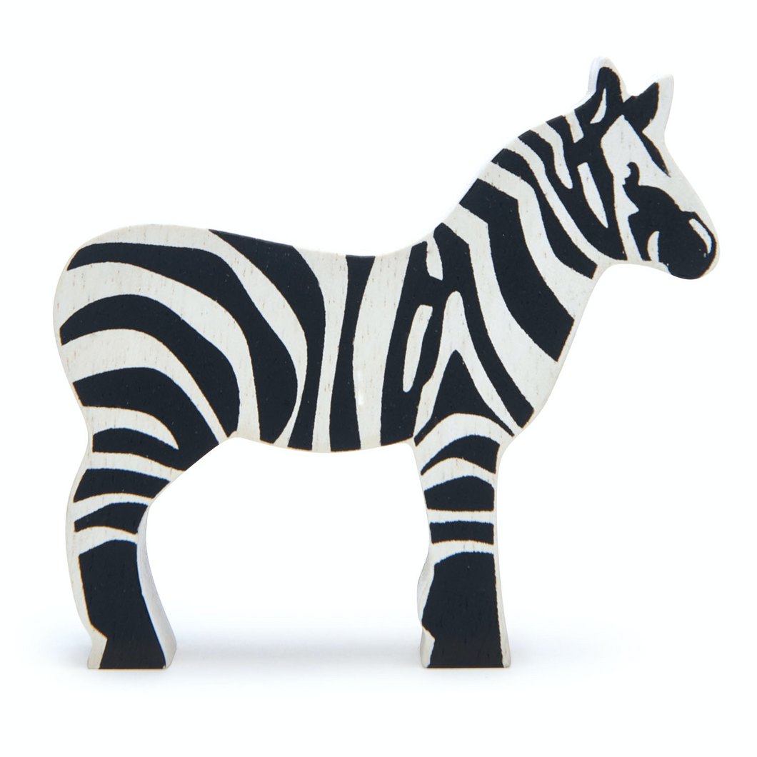 Tender Leaf Safari Zebra | Hand-Crafted Wooden Animal Toy | BeoVERDE.ie