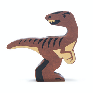 Tender Leaf Velociraptor | Hand-Crafted Wooden Animal Toy | BeoVERDE.ie