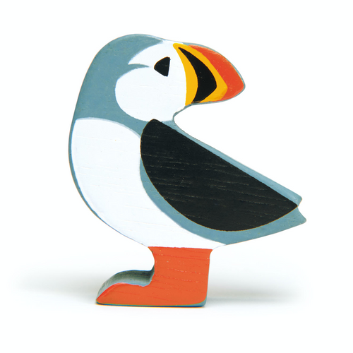 Tender Leaf Coastal Puffin | Hand-Crafted Wooden Animal Toy | BeoVERDE.ie