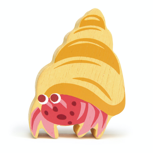 Tender Leaf Coastal Hermit Crab | Hand-Crafted Wooden Animal Toy | BeoVERDE.ie