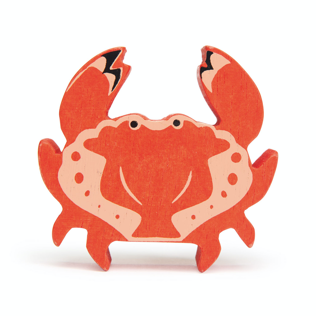 Tender Leaf Coastal Crab | Hand-Crafted Wooden Animal Toy | BeoVERDE.ie