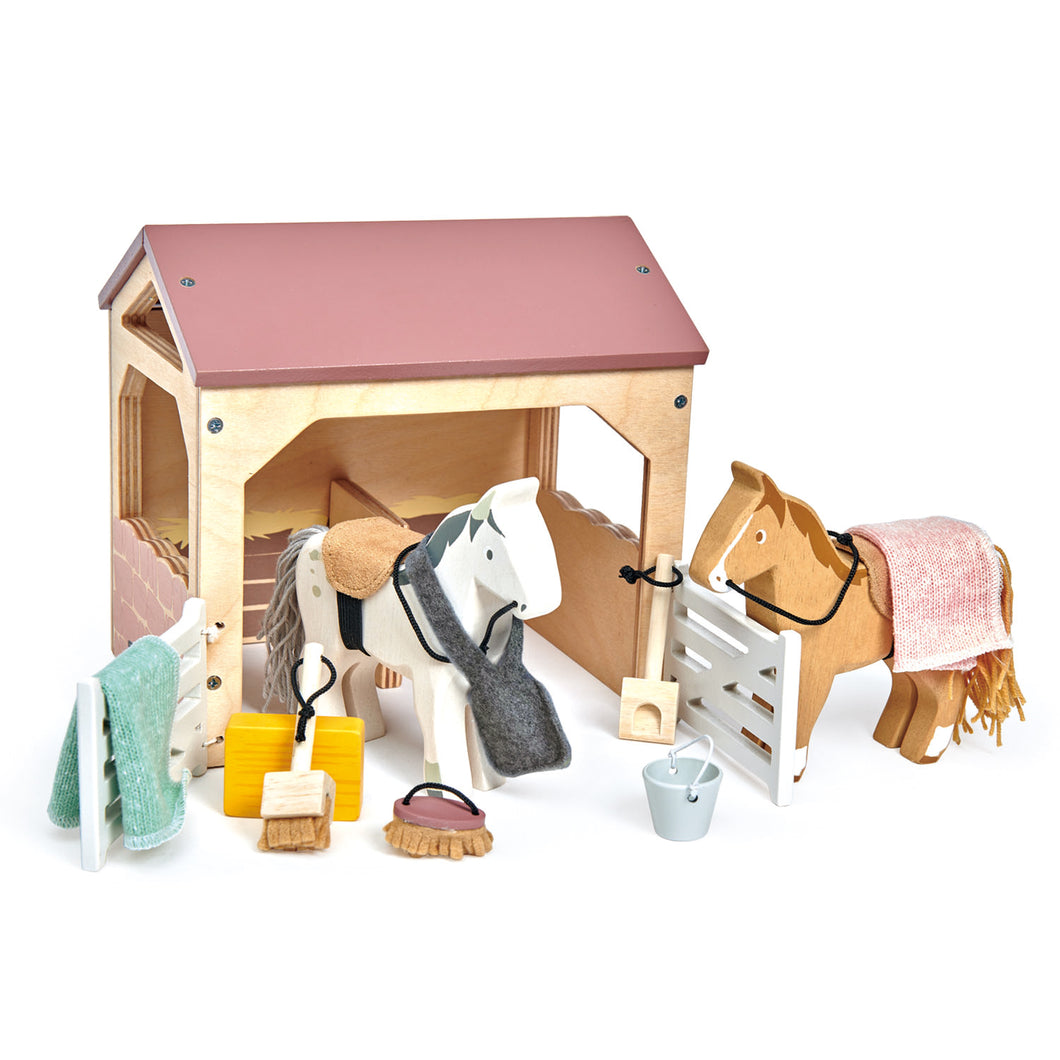 TenderLeaf 'The Stables' Front-Left View | Hand-Crafted Wooden Animal Toys | BeoVERDE.ie
