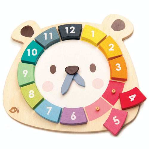 Tender Leaf Bear Colours Clock | Hand-Crafted Wooden Educational Toy | Front View | BeoVERDE.ie