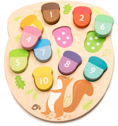 Tender Leaf How Many Acorns? | Hand-Crafted Wooden Educational Toy | Parts Apart | BeoVERDE.ie
