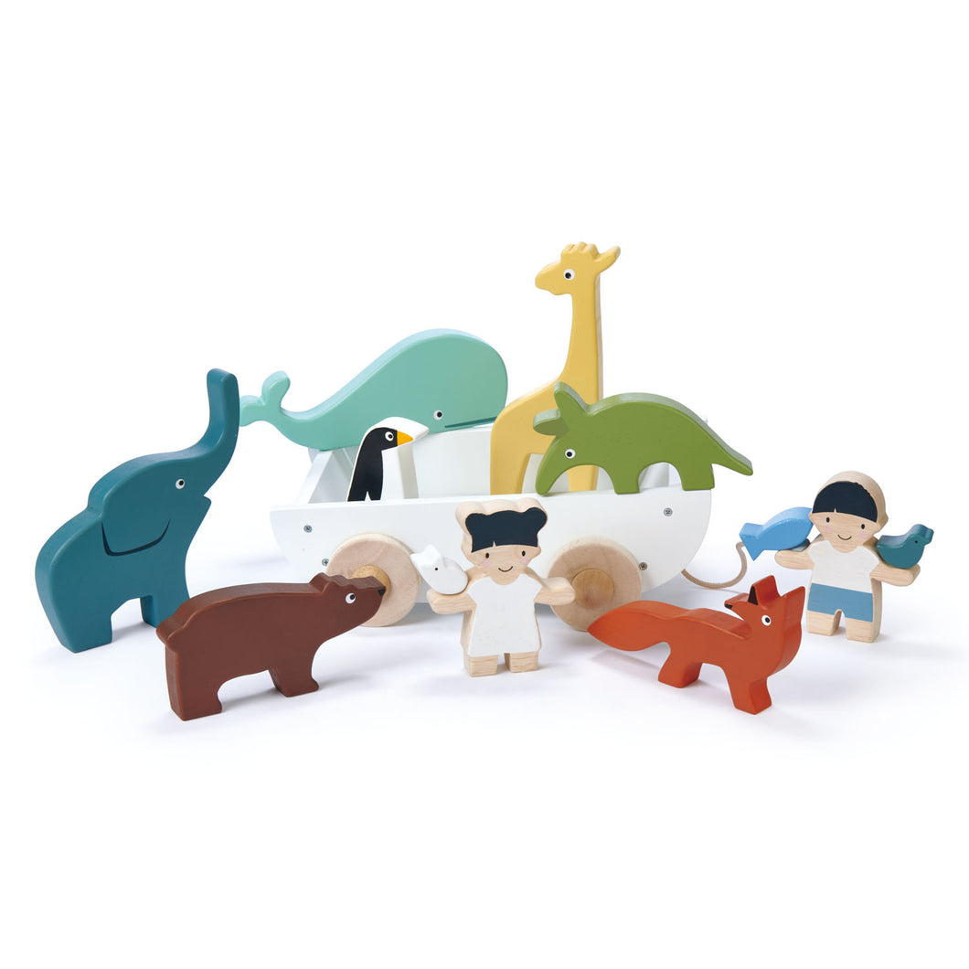 TenderLeaf 'The Friend Ship' Front View | Hand-Crafted Wooden Animal Toys | BeoVERDE.ie