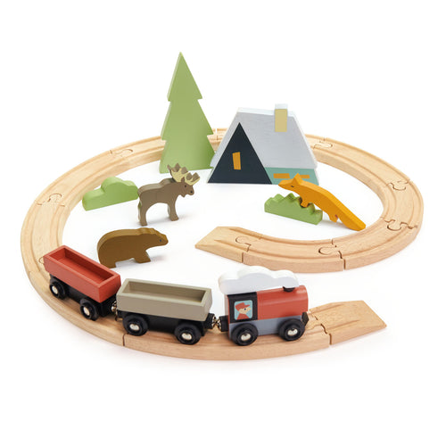 TenderLeaf Treetops Train Set Front View | Hand-Crafted Wooden Animal Toys | BeoVERDE.ie