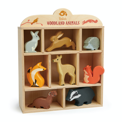 Tender Leaf 8 Woodland Animals & Shelf Set | Hand-Crafted Wooden Animal Toys | BeoVERDE.ie