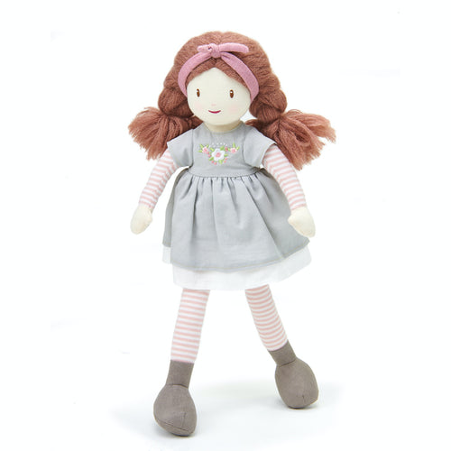 ThreadBear Design Alma Autumn Rag Doll | Hand-Crafted Rag Doll | Soft Cotton Children's Doll | Front View – Rag Doll Alma Standing | BeoVERDE.ie