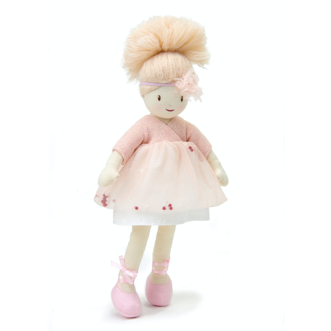 ThreadBear Design Amelie Ballerina Rag Doll | Hand-Crafted Rag Doll | Soft Cotton Children's Doll | Front View – Rag Doll Amelie Standing | BeoVERDE.ie