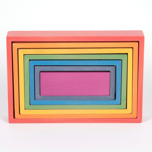Wooden Rainbow Rectangles | 7 Pieces | Wooden Activity Toy