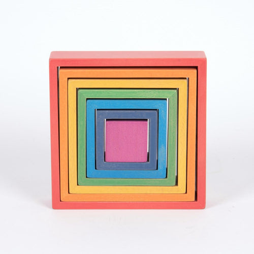 Wooden Rainbow Squares | 7 Pieces | Wooden Activity Toy