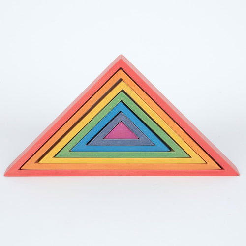 Wooden Rainbow Triangles | 7 Pieces | Wooden Activity Toy