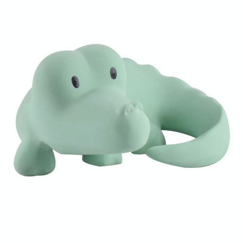 TIKIRI Natural Rubber Rattle & Bath Toy 'Crocodile' | Left View | BeoVERDE.ie