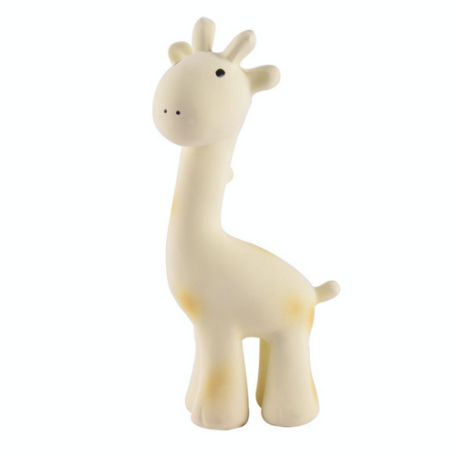 TIKIRI Natural Rubber Rattle & Bath Toy 'Giraffe' | Left View | BeoVERDE.ie