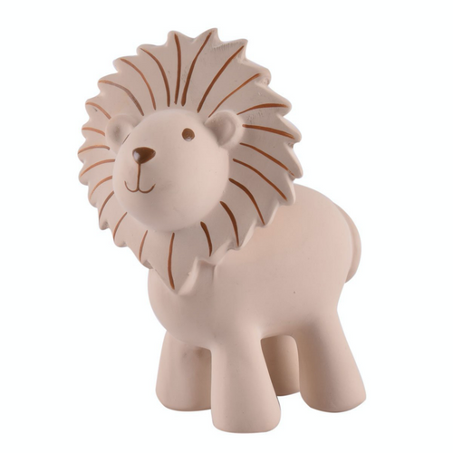 TIKIRI Natural Rubber Rattle & Bath Toy 'Lion' | Front Left View | BeoVERDE.ie