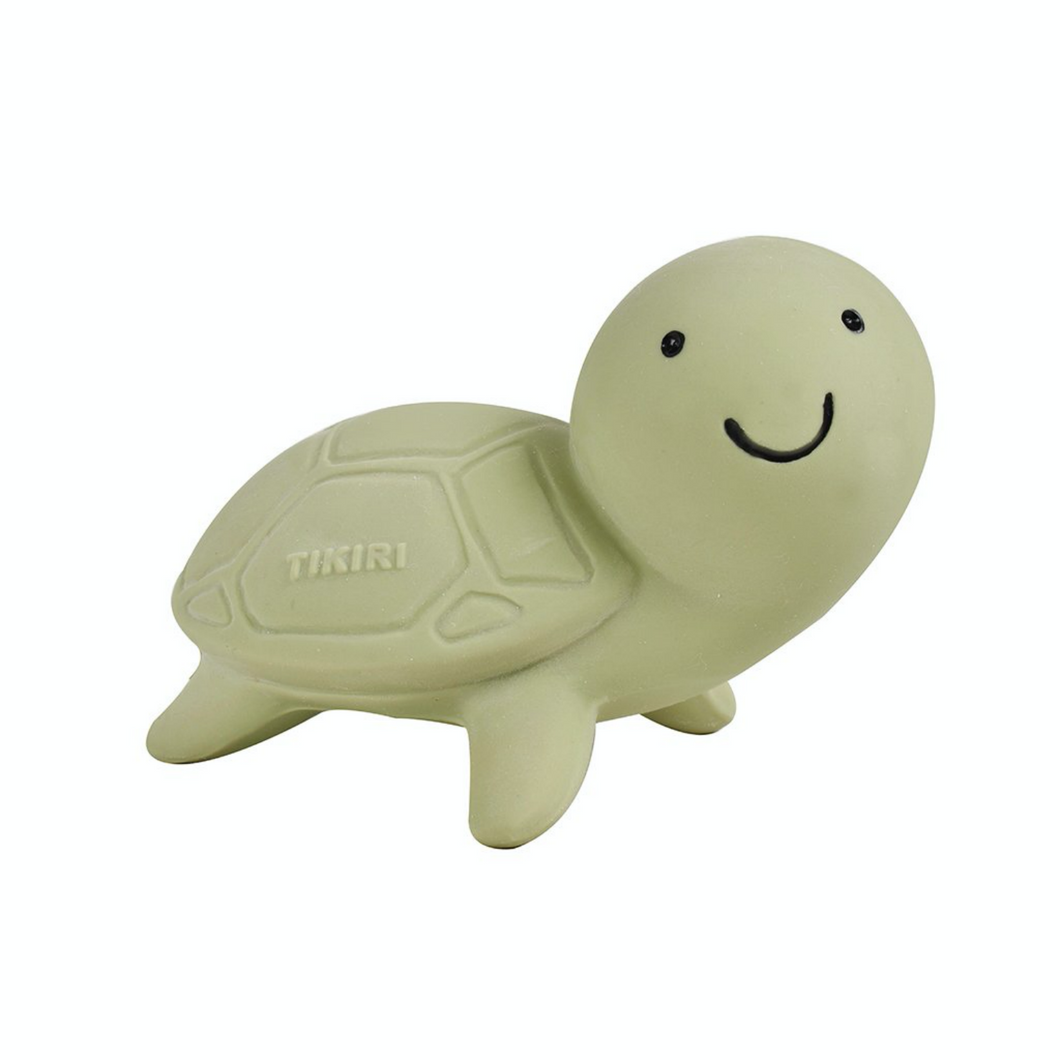 TIKIRI Natural Rubber Rattle & Bath Toy 'Turtle' | Front View | BeoVERDE.ie