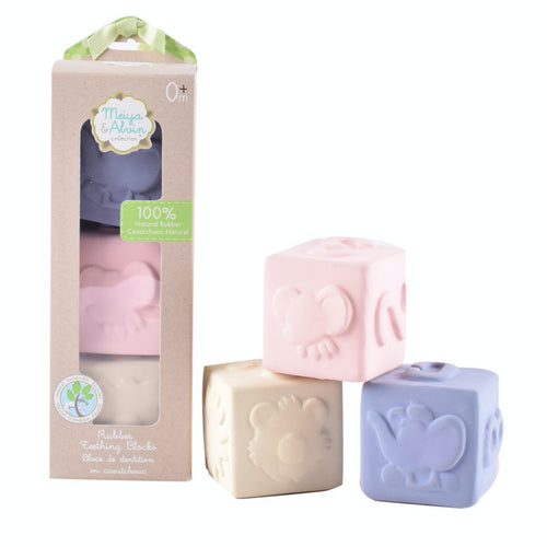 TIKIRI Baby Teether Activity Cubes | Safe Natural Rubber Teething Toys | Front View and Packaging | BeoVERDE.ie