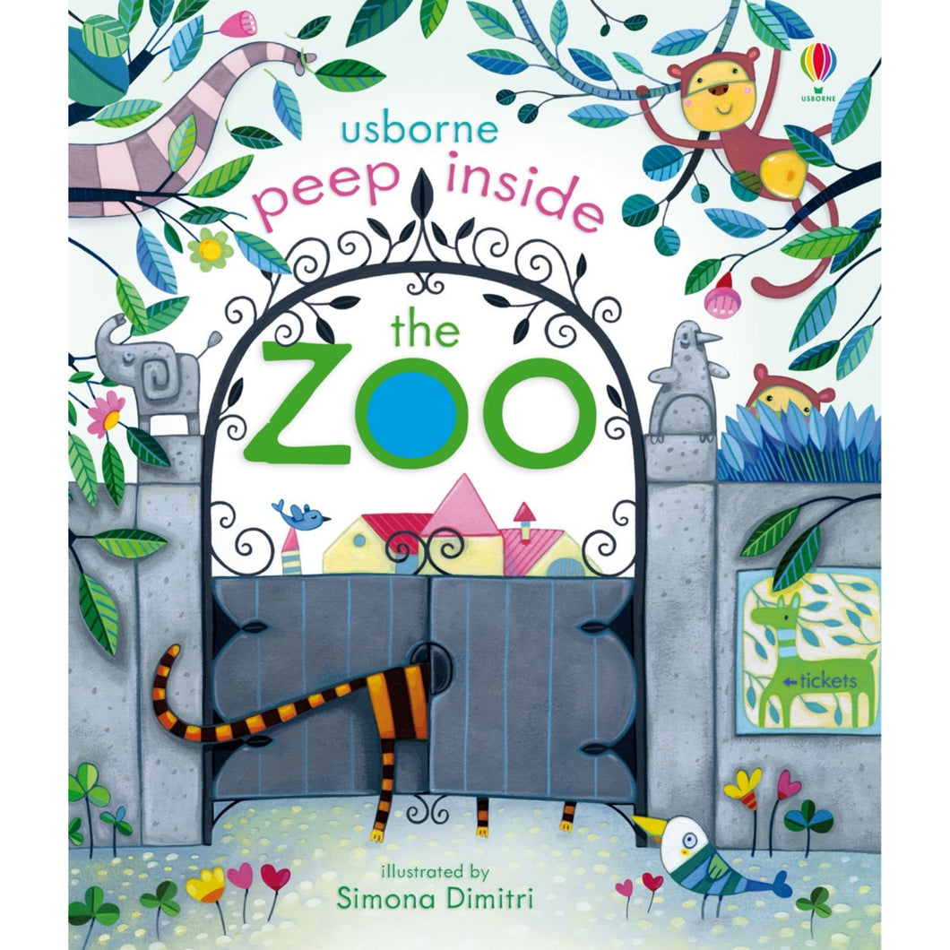 Peep Inside The Zoo | Children's Activity Board Book | Usborne | Book Cover | BeoVERDE.ie