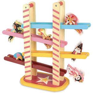 Vilac Acrobat's Cascade designed by Ingela P.Arrhenius | Wooden Toddler Activity Toy | Side View | BeoVERDE.ie