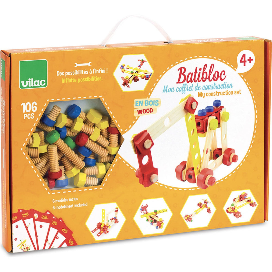 Vilac Wooden Construction Building Set 'Batibloc' | Educational Wooden Toy | Package Front View | BeoVERDE.ie