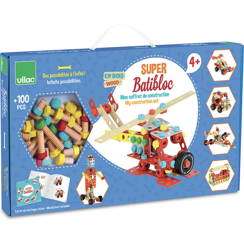 Vilac Wooden Construction Building Set 'Super Batibloc' | Educational Wooden Toy | Package Front View | BeoVERDE.ie