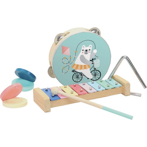 Vilac Musical Instruments Set Designed by Michelle Carlslund | Musical Toy | Wooden Toddler Activity Toy | Front View | BeoVERDE.ie