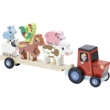 Load image into Gallery viewer, Vilac Stacker Tractor and Trailer with 6 Farm Animals | Wooden Imaginative Play Toy | Side View  - Vehicles on Trailer | BeoVERDE.ie