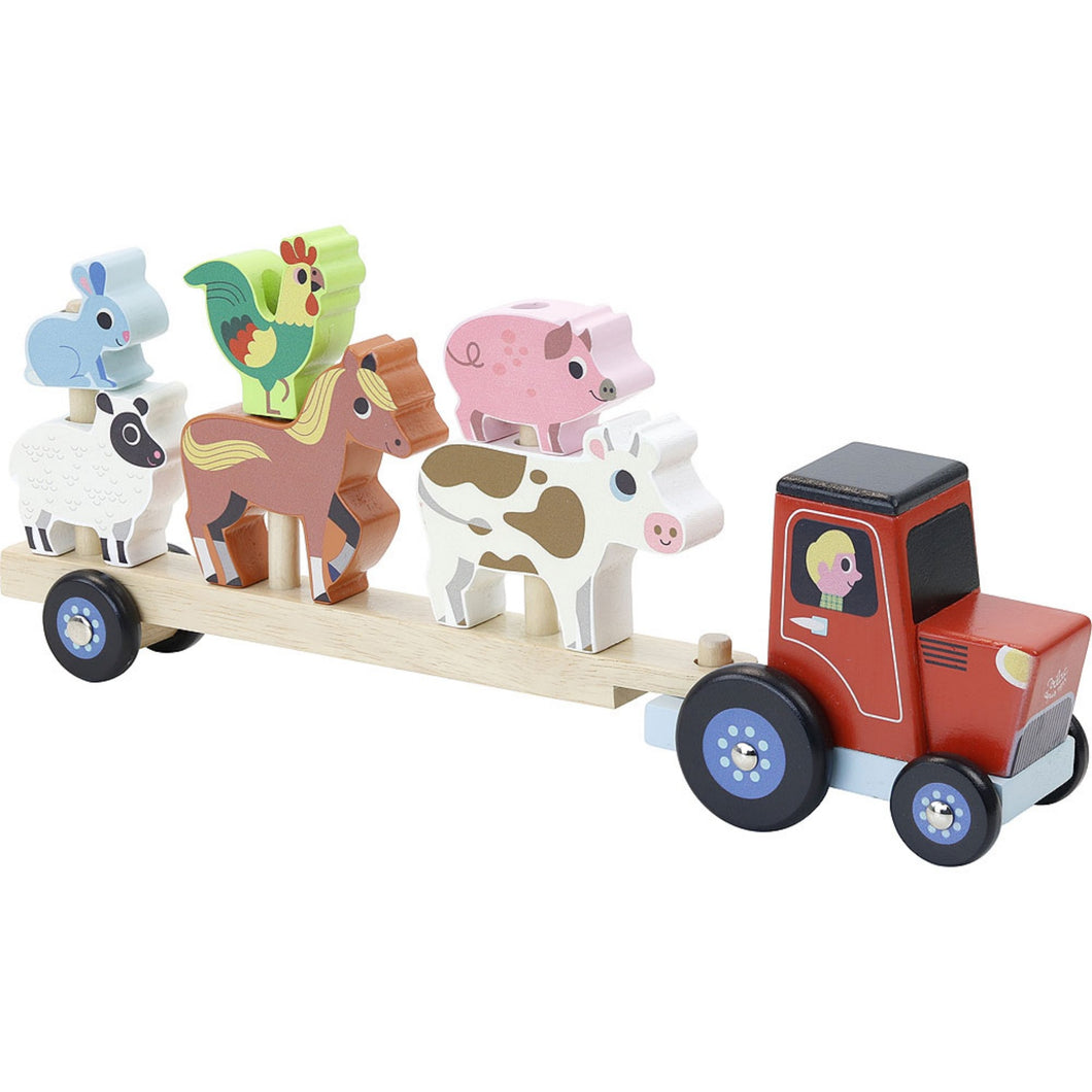 Vilac Stacker Tractor and Trailer with 6 Farm Animals | Wooden Imaginative Play Toy | Side View  - Vehicles on Trailer | BeoVERDE.ie