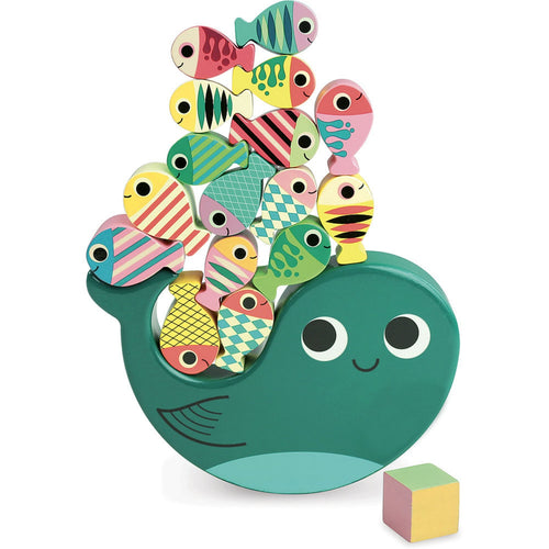 Vilac Whaly Balancing Game Designed by Ingela P. Arrhenius  | Hand-Crafted Wooden Toy | Wooden Stacking Balancing Game | Front View – All Coloured Fish on Whaly | BeoVERDE.ie