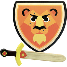 Load image into Gallery viewer, Vilac Wooden Sword and Wooden Shield Set  - Lion | Wooden Pretend Play Toy | Front View | BeoVERDE.ie