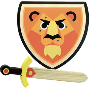 Vilac Wooden Sword and Wooden Shield Set  - Lion | Wooden Pretend Play Toy | Front View | BeoVERDE.ie