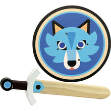 Load image into Gallery viewer, Vilac Wooden Sword and Wooden Shield Set  - Wolf | Wooden Pretend Play Toy | Front View | BeoVERDE.ie
