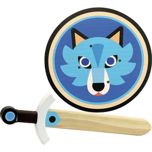 Vilac Wooden Sword and Wooden Shield Set  - Wolf | Wooden Pretend Play Toy | Front View | BeoVERDE.ie