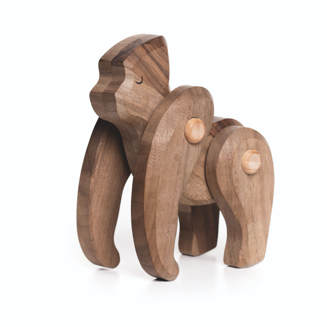 TOBE Wooden Gorilla | Movable Arms & Legs | Front-Side View | BeoVERDE.ie