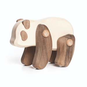 TOBE Wooden Panda | Movable Arms & Legs | Side View | BeoVERDE.ie