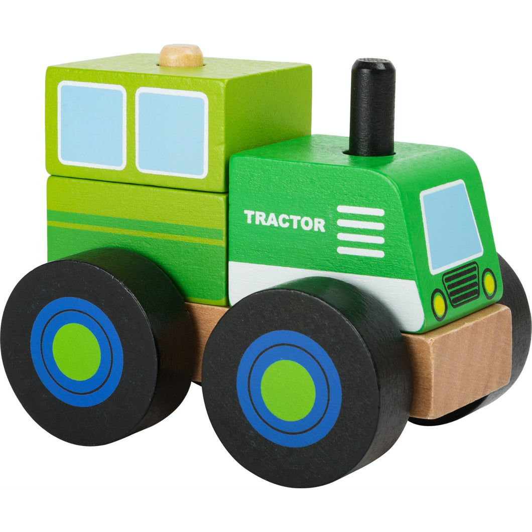 Small Foot Wooden Stacker Tractor | Baby & Toddler Activity Wooden Toy | Front Side View | BeoVERDE.ie