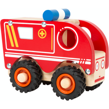 Load image into Gallery viewer, Small Foot Wooden Ambulance | Front Side View Right | BeoVERDE.ie